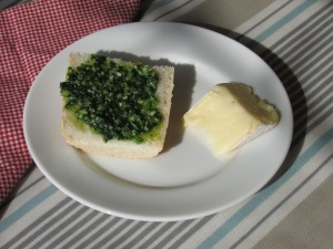Wild Garlic Pesto with Bread & Brie